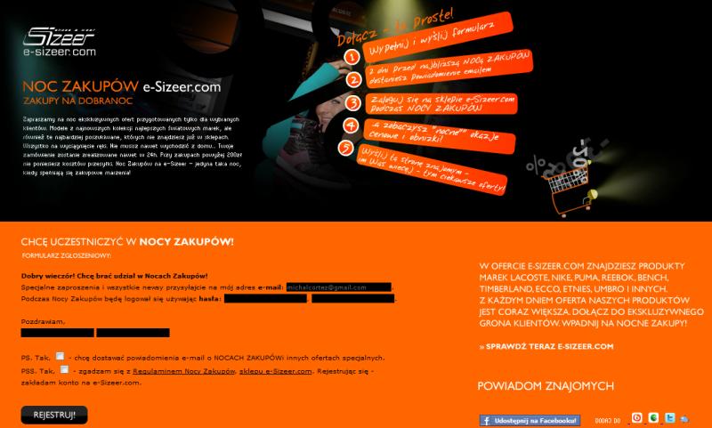 Kampania leadowa NOC ZAKUPÓW - Sklep Sizeer